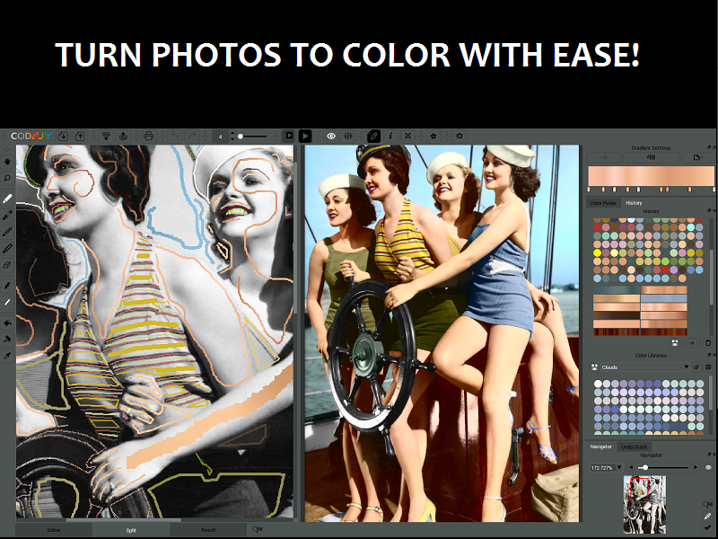 Turn black & white photos into color masterpieces with a few strokes of colo