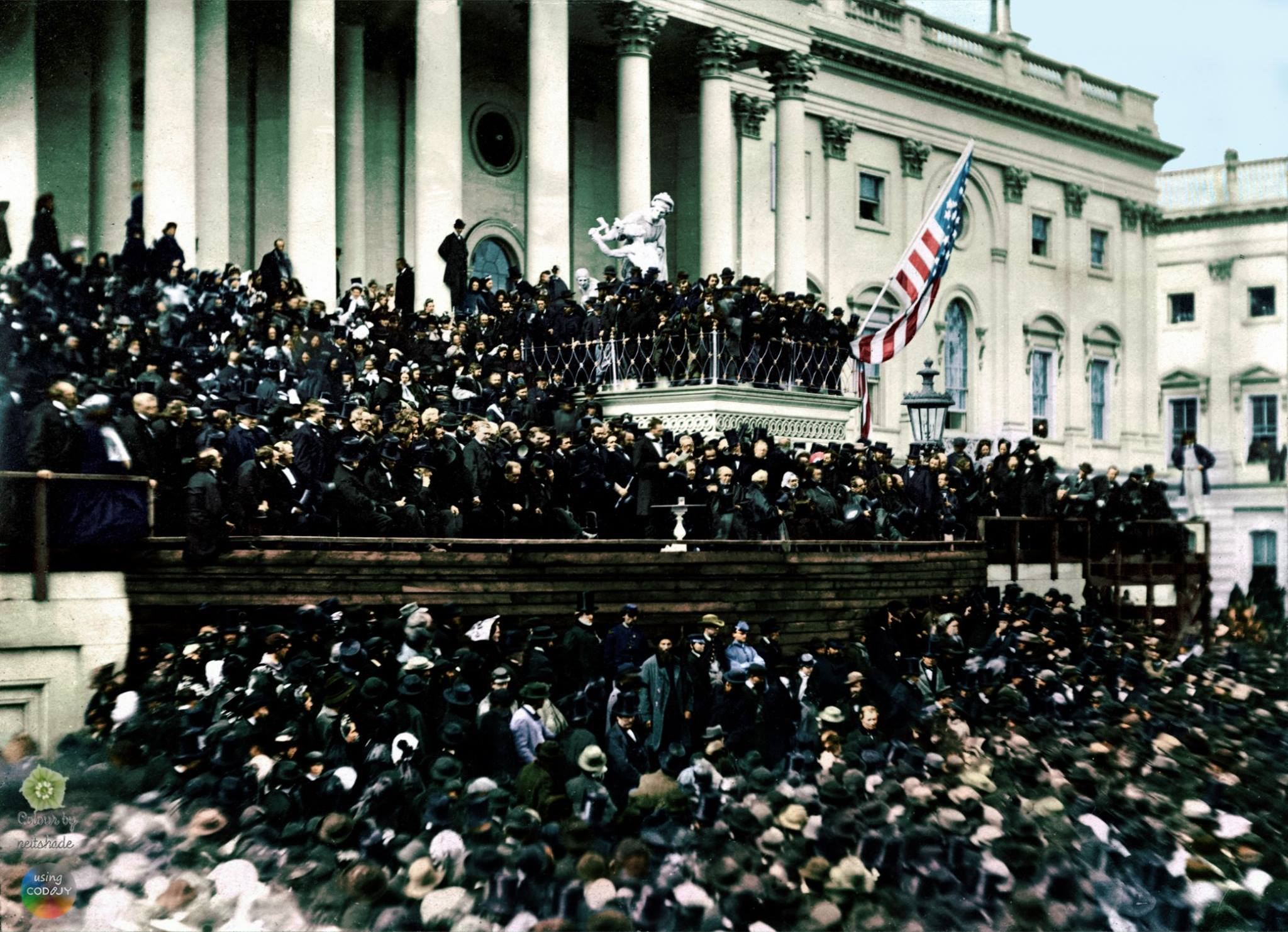 Lincoln's Second Innaugural Address. Colorized bu Dave Davis
