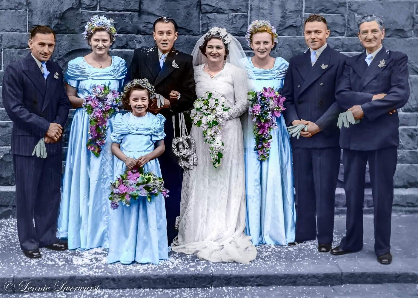 A wedding photo (1948) from the family photo album. Colorized by Lennie Liverwurst