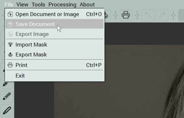 Save document Menu command